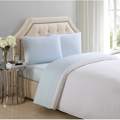 Solid Cotton Sheet Set Size: Full, Color: Skyway