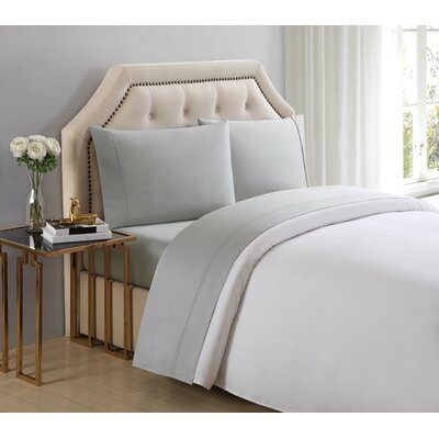 4 Piece 510 Thread Count Cotton Sheet Set Color: Ghost Gray, Size: California King