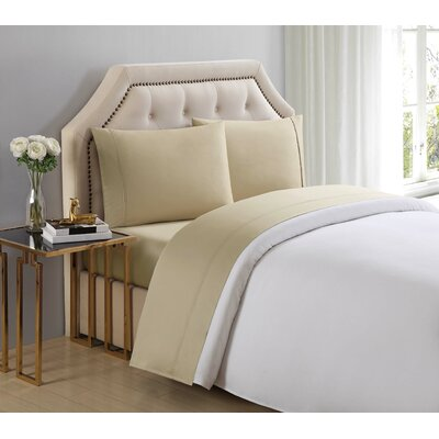 4 Piece 510 Thread Count Cotton Sheet Set Size: King, Color: Pale Khaki