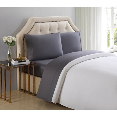 4 Piece 510 Thread Count Cotton Sheet Set Size: King, Color: Shark