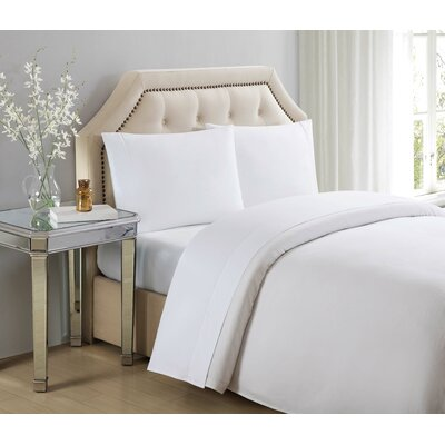 4 Piece 610 Thread Count Cotton Sheet Set Size: Queen, Color: Bright White