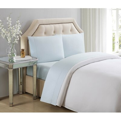 Solid Cotton Pillow Case Color: Illusion Blue, Size: King