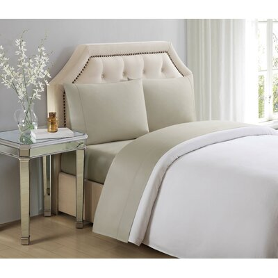 4 Piece 610 Thread Count Cotton Sheet Set Size: King, Color: Silver Lining