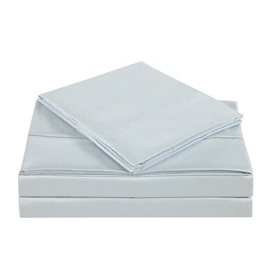 4 Piece 310 Thread Count Cotton Sheet Set Size: King, Color: Dawn Blue