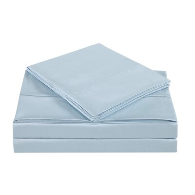 4 Piece 310 Thread Count Cotton Sheet Set Color: Skyway, Size: California King