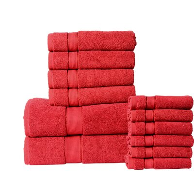 12 Piece Towel Set Color: Ruby Red