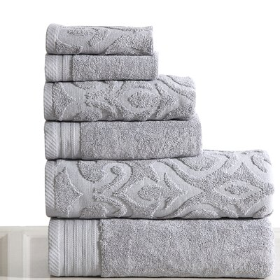 Jacquard 6 Piece Towel Set Color: Platinum