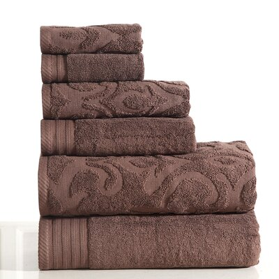 Jacquard 6 Piece Towel Set Color: Coffee
