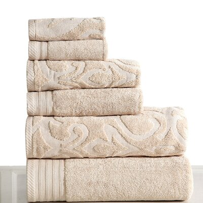 Jacquard 6 Piece Towel Set Color: Ivory