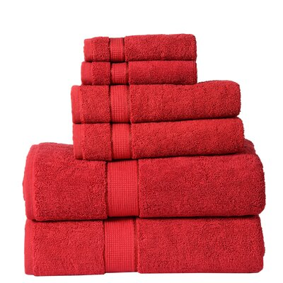 6 Piece Towel Set Color: Ruby Red