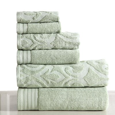 Jacquard 6 Piece Towel Set Color: Sag