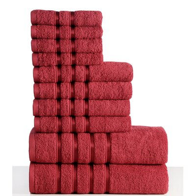 10 Piece Towel Set Color: Ruby Red
