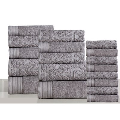 Jacquard 18 Piece Towel Set Color: Gray