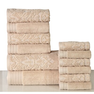 Jacquard 12 Piece Towel Set Color: Ivory