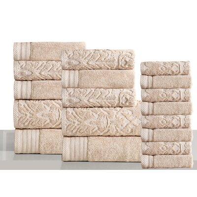 Jacquard 18 Piece Towel Set Color: Ivory