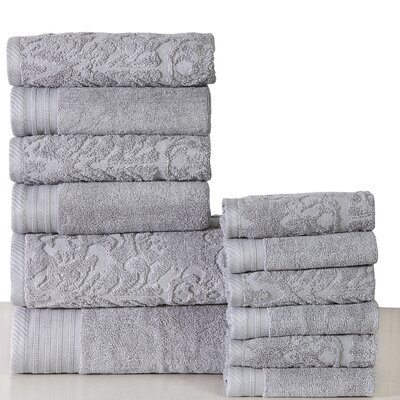 Jacquard 12 Piece Towel Set Color: Platinum
