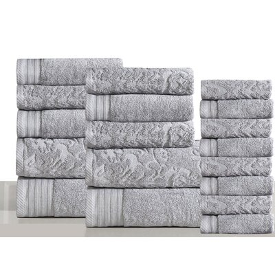 Jacquard 18 Piece Towel Set Color: Platinum