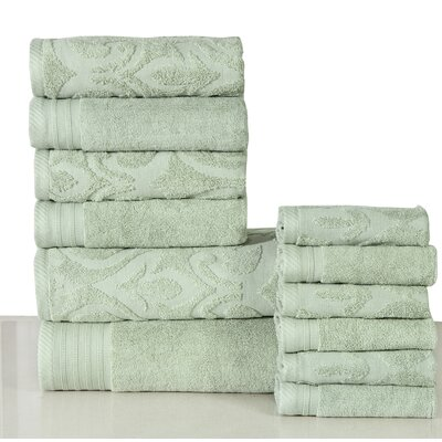 Jacquard 12 Piece Towel Set Color: Sag