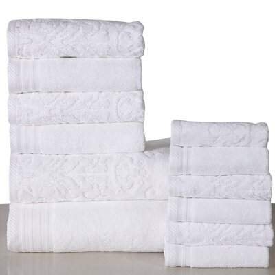 Jacquard 12 Piece Towel Set Color: White
