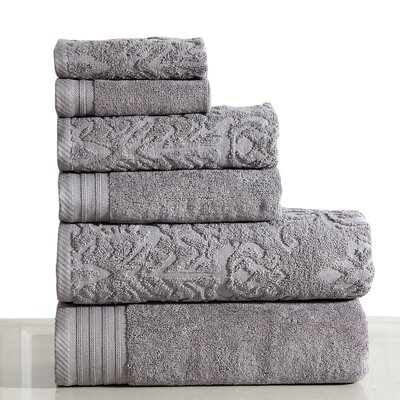 Jacquard 6 Piece Towel Set Color: Gray