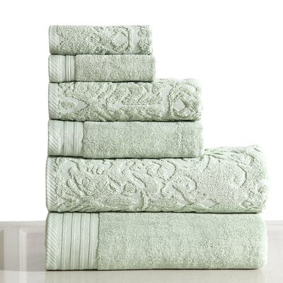 Jacquard 6 Piece Towel Set Color: Sage
