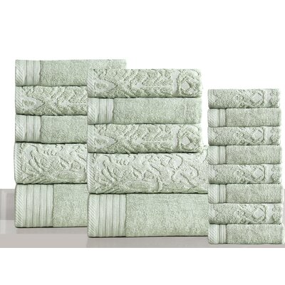 Jacquard 18 Piece Towel Set Color: Sag