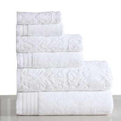 Jacquard 6 Piece Towel Set Color: White