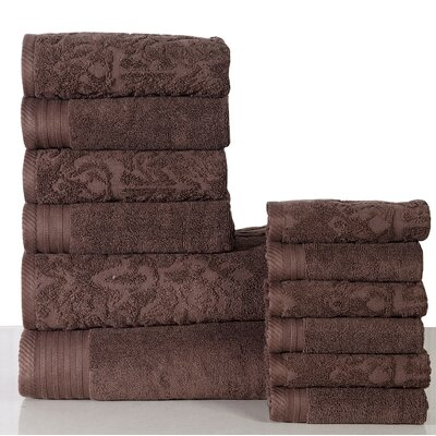 Jacquard 12 Piece Towel Set Color: Coffee