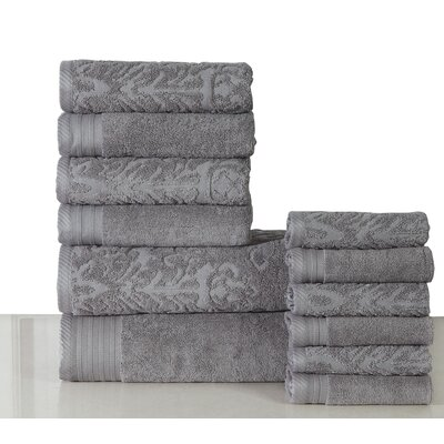 Jacquard 12 Piece Towel Set Color: Gray