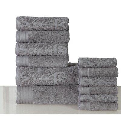 Jacquard 12 Piece Towel Set Color: Gray