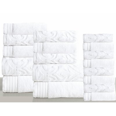 Jacquard 18 Piece Towel Set Color: White