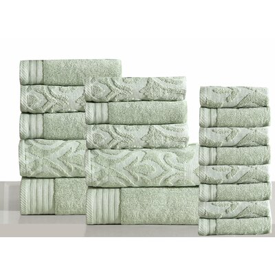 Jacquard 18 Piece Towel Set Color: Sage