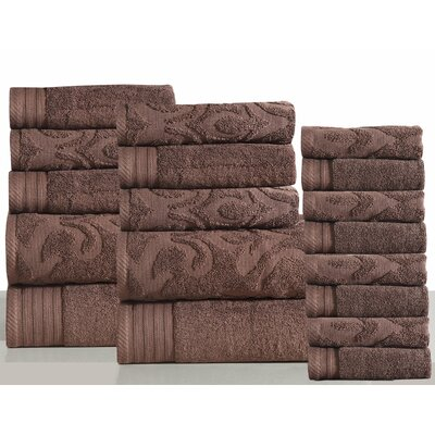 Jacquard 18 Piece Towel Set Color: Coffee