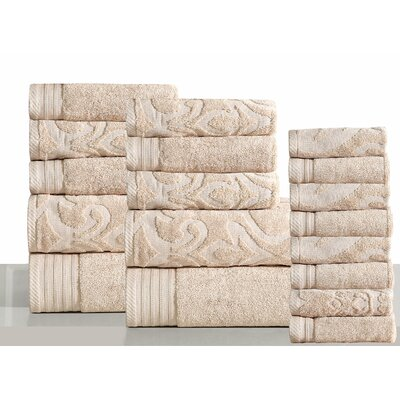 Jacquard 18 Piece Towel Set Color: Ivory