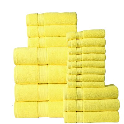 18 Piece Towel Set Color: Yellow