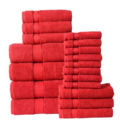 18 Piece Towel Set Color: Ruby Red