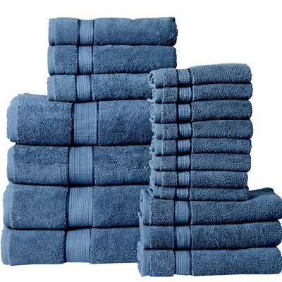 18 Piece Towel Set Color: Navy Blue