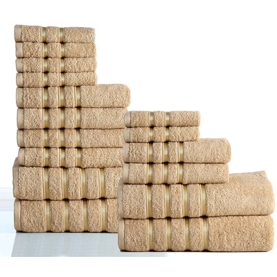 100% Combed Cotton 550 GSM 16 Piece Towel Set Color: Taupe