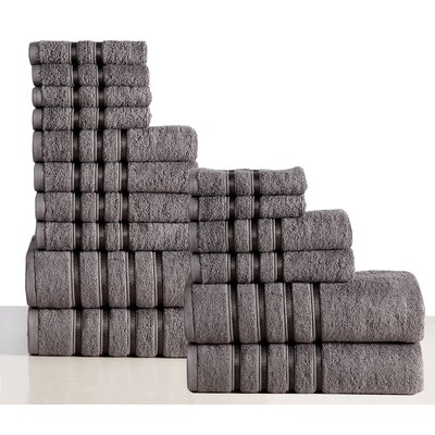 100% Combed Cotton 550 GSM 16 Piece Towel Set Color: Gray