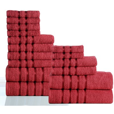 100% Combed Cotton 550 GSM 16 Piece Towel Set Color: Ruby Red