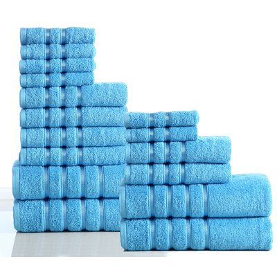 100% Combed Cotton 550 GSM 16 Piece Towel Set Color: Sea Blue