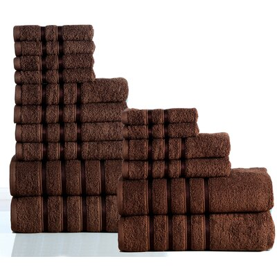 100% Combed Cotton 550 GSM 16 Piece Towel Set Color: Chocolate