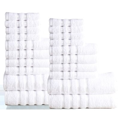 Seminole 100% Combed Cotton 550 GSM 20 Piece Towel Set Color: White