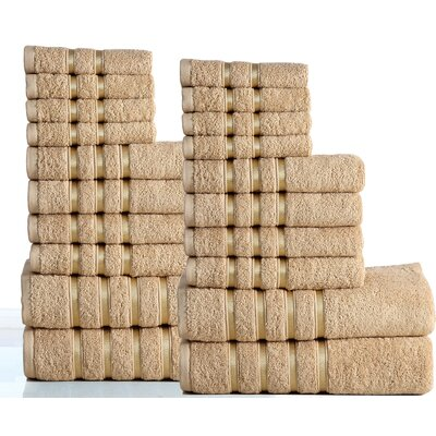 100% Combed Cotton 550 GSM 20 Piece Towel Set Color: Taupe
