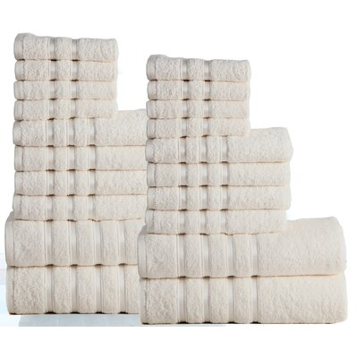 100% Combed Cotton 550 GSM 20 Piece Towel Set Color: Ivory