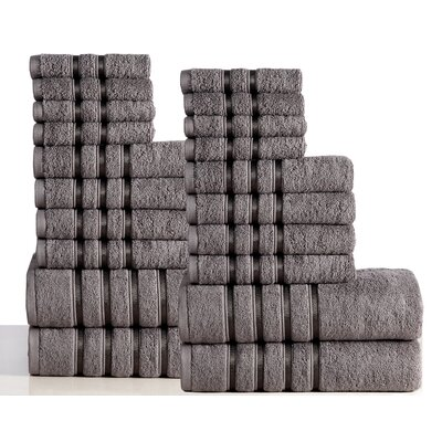 Seminole 100% Combed Cotton 550 GSM 20 Piece Towel Set Color: Gray
