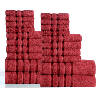 100% Combed Cotton 550 GSM 20 Piece Towel Set Color: Ruby Red