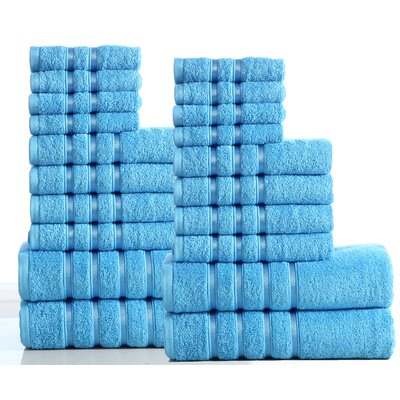 100% Combed Cotton 550 GSM 20 Piece Towel Set Color: Sea Blue