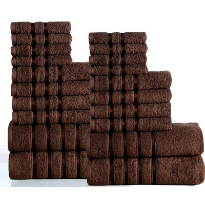 100% Combed Cotton 550 GSM 20 Piece Towel Set Color: Chocolate