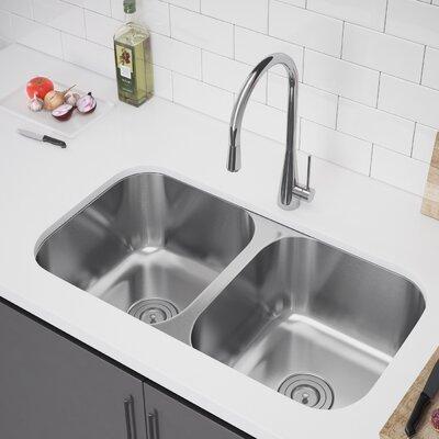 33 x 18 Double Bowl Undermount Kitchen Sink with Strainer